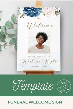 Welcome friends and family to the celebration of life of your loved one with this elegant funeral welcome sign with blue roses. #funeral, #funeralprogram, #funeralprogramtemplate, #obvituarytemplate, #celebrationoflife, #memorialprogram Funeral Reception, Sign Templates, Blue Roses, In Loving Memory, Welcome, Are You The One, Celebration, Place Card Holders, Signs