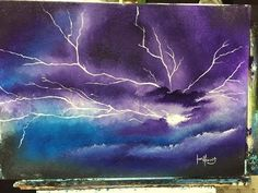 this show how to paint lightning for beginners in acrylic with some simple blend… - PaintinG Easy Canvas Painting, Sky Painting, Galaxy Painting, Acrylic Painting Tutorials, Acrylic Art, Painting & Drawing, Acrylic Painting Lessons, Painting Tips, Painting Techniques