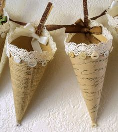 Five Hanging Tussie Mussie Cones ,,, cute idea for grandchildren at Christmas for a little take home treat. Victorian Christmas, Vintage Christmas, Christmas Crafts, Christmas Ornaments, Arts And Crafts, Paper Crafts, Diy Crafts, Paper Art, Paper Cones