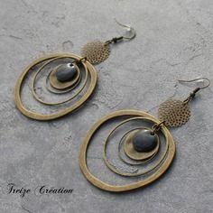 Bijou créateur - boucles d'oreilles ethnique bronze anneaux créoles antique estampes sequins émaillés gris anthracite