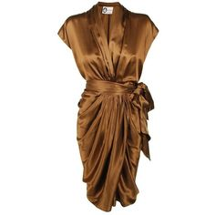 LANVIN Silk Drape Grecian Dress (€850) ❤ liked on Polyvore featuring dresses, vestidos, short dresses, платья, silk cocktail dress, brown cocktail dress, mini dress, short silk dress and short sleeve mini dress