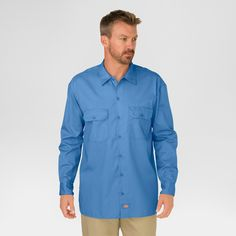 Dickies Men's Big & Tall Original Fit Long Sleeve Twill Work Shirt- Gulf Blue Xxl Tall