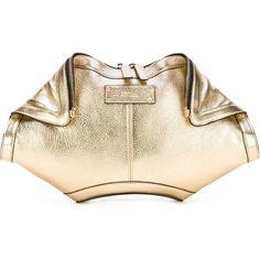 Alexander McQueen 'De Manta' clutch ($945) ❤ liked on Polyvore featuring bags, handbags, clutches, metallic, alexander mcqueen purse, metallic leather handbags, leather handbags, metallic clutches and metallic handbags
