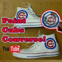 108653f8f529 Custom Chicago Cubs Hand Painted Converse How to Video Chuck Taylor Shoes