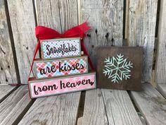 Ready to ship snowflakes stacking wood block set by jodyaleavitt