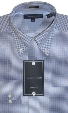 Tommy Hilfiger Small Check Blue White Button Collar Shirt 14½  32 33 New #TommyHilfiger