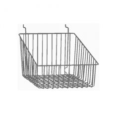 The Sloped Front Basket for Slatwall, Gridwall & Pegboard is a deep basket with a sloped front for easy access Garage Storage, Diy Storage, Kitchen Storage, Kids Desk Organization, Class Design, Slat Wall, Just Dream, Space Crafts, House