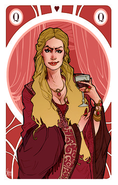 Queen Cersei Lannister Illustration for my personal version of Game of Thrones' cards