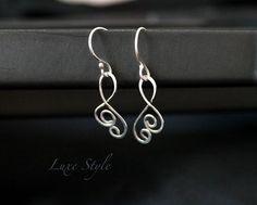 Sterling Silver Dangle earrings Eco friendly by DewdropsLuxeStyle, $32.00