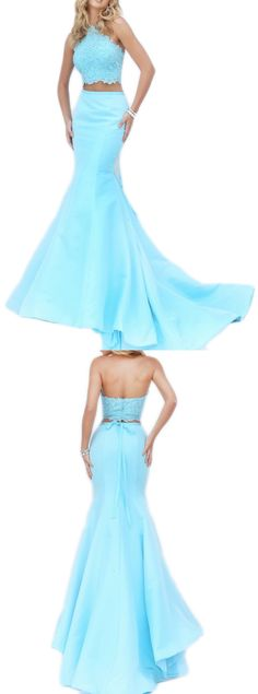 Halter Mermaid Two Piece Long Sky Blue Prom Dress Lace Satin Evening Gown #prom #prom2017 #formal #formalgown #formaldress #macloth #evening #wedding #2piecegown