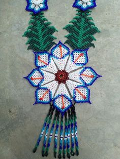Folklore, Beaded Necklace, Beaded Jewellery, Necklaces, Native American Beading, Peyote Patterns, Orange Flowers, Beaded Flowers, Bead Art
