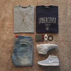 Outfit grid - Undercover sweatshirt instead of Nike shoes switch those out with Adidas or Under Armour. Winter Outfits, Casual Outfits, Men Casual, Looks Style, My Style, Mode Cool, Streetwear, Curvy Petite Fashion, Le Male