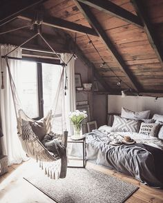 """Czasem słońce...czasem desz...a jak pogoda u Was? #myinterior #home #bedroom #interior #marideko #woodenhouse #attic #polishhome #scandinavian…"""