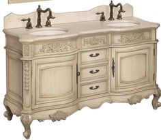 """find affordable French Provincial  vanities like this top seller on Amazon: $1799 for 72"""" complete with counter, sinks and faucets."""