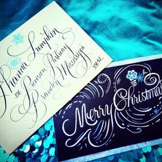 Calligraphy Christmas Card and Envelope