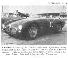 Jo Bonnier, Alfa Romeo 6C 3000 CM Zagato Spider, GP Sverige, Kristianstad, Sweden, 1955. The car was driven by John Kvarnström in this race. Tags: swedish grand prix