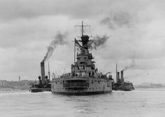 13.5 in Iron Duke class super-dreadnought HMS Marlborough at Plymouth in 1921: she was one of the few British battleships seriously damaged at Jutland