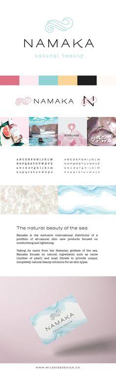 Namaka Brand Board - Minimalist Natural Cosmetics Brand Design - Ocean, Abalone, Shell, Beauty www.wildsidedesign.co