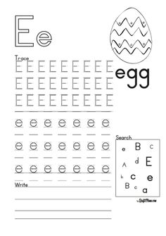 Alphabet Printable E for Egg FREE! • KraftiMama Preschool Writing, Art Drawings For Kids, Camping Games, Egg Free, Grade 1, Alphabet, Printables, Alpha Bet, Print Templates