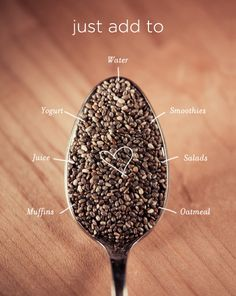 Fill a pretty clear container with chia seeds so you remember to throw these powerful seeds into your food for a nutritional boost.  Click here to learn more about chia seeds and to find more health recipes, tips, and motivationhttp://youcaneathealthytoo.com/decorate-kitchen-chia-seeds-easy-access/