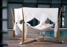 outdoor bed for relaxation with cocoon | interiordesignable.