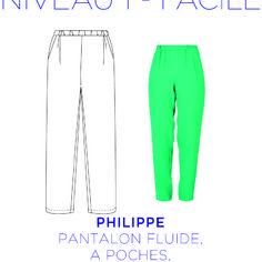 Patron - pantalon philippe, pantalon large et fluide, patron à taille réelle du 36 au 46.