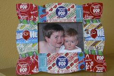 Candy Wrapper Photo Frame: Use colorful wrappers from Halloween to create a great gift for the holidays!