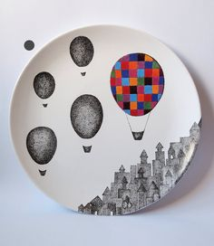 Plaid Balloon Wall Hanging Plate by ZuppaAtelier on Etsy, $65.00
