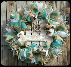 Deco Mesh Wreath Front Door Wreath Summer by SouthernThrills