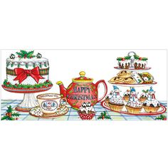 Christmas Tea Christmas Cards (pack of 8) from Phoenix Trading. Supporting Together for Short Lives, Cancer Research UK & Macmillan
