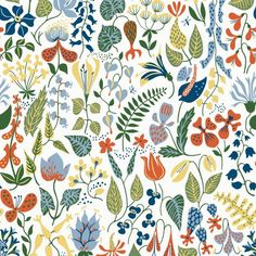 Add bright floral pattern to your interior with this Herbarium wallpaper from BorasTapeter. Part of the Wallpapers by Scandinavian designers collection, this design is by Stig Lindberg and is sure .