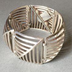 "Georg Jensen Sterling Silver ""Grates"" Bracelet No. 389 by Nanna Ditzel, Handmade Sterling Silver - Gallery 925"