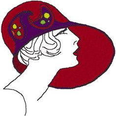Red Hat Lady with Sheer Bow Embroidery Design | Red hats, Hats and ...