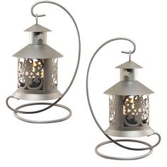 LumaBase Elegant Metal Tabletop Candle Lantern 2-piece Set ($28) ❤ liked on Polyvore featuring home, home decor, candles & candleholders, silver, metal lanterns, metal candle, colored lanterns, colored candles and twin pack