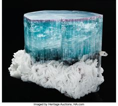 Minerals:Crystals, BLUE TOURMALINE WITH RED TOP. ...