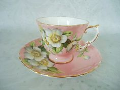 Pink Blossom Teacup and Saucer Set Vintage por SwirlingOrange11, $75.00