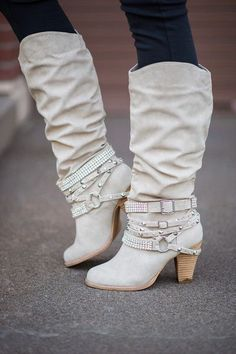 fall, and all the new boots each year. We have one of each color. Shop these Cream Diamonds & Studs Boots at NanaMacs Boutique. High Heel Boots, Heeled Boots, Bootie Boots, Ankle Boots, High Heels, Cute Boots, Sexy Boots, Women's Shoes, Me Too Shoes
