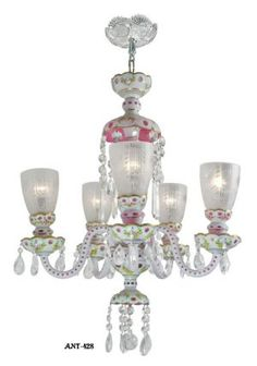 Lovely Bohemian five shade Art Glass Cut chandelier Circa 1920-30 (ANT-428)