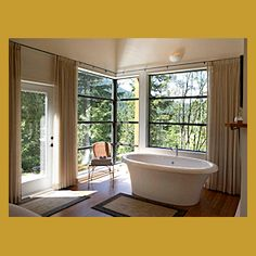 Soaker Tub for two with views. Vacation home in Canada Bed N Bath, Queen Size Sofa Bed, Cabin Bathrooms, Matching Bedding And Curtains, Hotel Collection Bedding, Soaker Tub, Natural Bedding, Bedding Websites, Luxury Bedding Sets