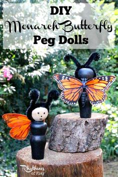 These monarch butterfly peg dolls are simple to make with a few inexpensive materials. Kids love to play with them. They also look beautiful displayed around the house or on a summer nature table.