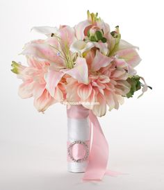 ... Dahlias, Pink Lilies & White Calla Lilies Real Touch Wedding Bouquet