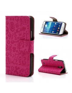 Δερμάτινη Θήκη Πορτοφόλι με Βάση Στήριξης για Samsung Galaxy S4 mini i9195 i9190 - Φούξια με καρτούν