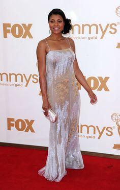 Taraji P. Henson. Silver Dress, Gray Dress, Taraji P Henson Empire, Gowns Of Elegance, Elegant Gowns, Black Actresses, Black Families, Famous Women, Evening Gowns
