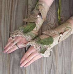 Vintage Lace Fairy Cuffs Nuno Felted Cuffs Fairy by folkowl, $45.00