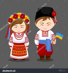 Imagens, fotos stock e vetores similares de Ukrainians in national dress with a flag. A man and a woman in traditional costume. Travel to Ukraine. Ukrainian Dress, Ukrainian Art, Clipart, Travel To Ukraine, Costumes Around The World, World Thinking Day, Arte Popular, My Heritage, People Of The World