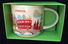 Starbucks London Mug YAH Bus Big Ben Tower Bridge Cup You Are Here England UK #Starbucks
