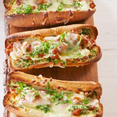 Crunchy on the outside, soft on inside crispy tasty garlic bread wrapped around Sweet Italian Sausage & Luscious Marinara. How about real decadence & add some Mozzarella or Provolone to the toasty bread & toast just enough to melt the cheese before adding the Sausage & Marinara! Yum! YUM! ❤️❤️ www.delish.com