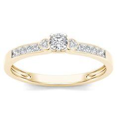 De Couer 10k Gold 1/5ct TDW Diamond Classic Engagement Ring