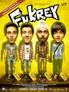 Fukrey is an upcoming Hindi comedy film written and directed by Mrighdeep Singh Lamba of Teen Thay Bhai fame starring Pulkit Samrat, Manjot Singh, Ali Fazal, Richa Chadda, Vishakha Singh and south actress Priya Anand in the lead roles. Hindi Comedy, Comedy Movies, Hindi Movie Song, Movie Songs, Bollywood Posters, Bollywood Songs, Movie Info, Movies To Watch Online, Indian Movies