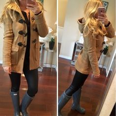 Toggle Peacoat in camel with hood Beautiful and versatile coat, not too thick of a material. Has toggle and additional snap button closure. Only used a couple of times. Features a hood as well.  Jackets & Coats Pea Coats